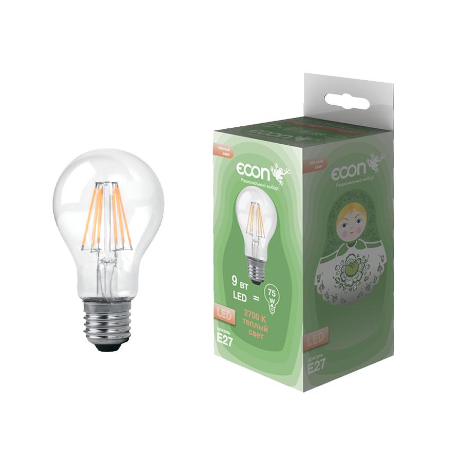 Лампа светодиодная Econ Led a 9 Вт e27 2700k a60 fil