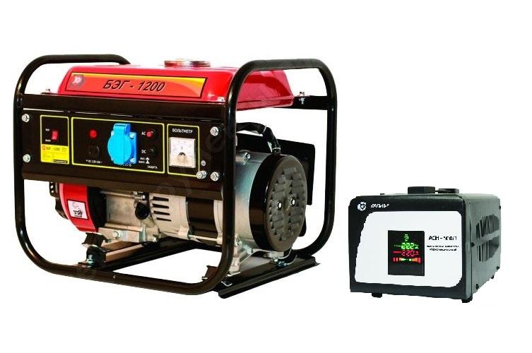 Бензиновый генератор КАЛИБР БЭГ-1200+Стабилизатор напр.АСН - 500/1