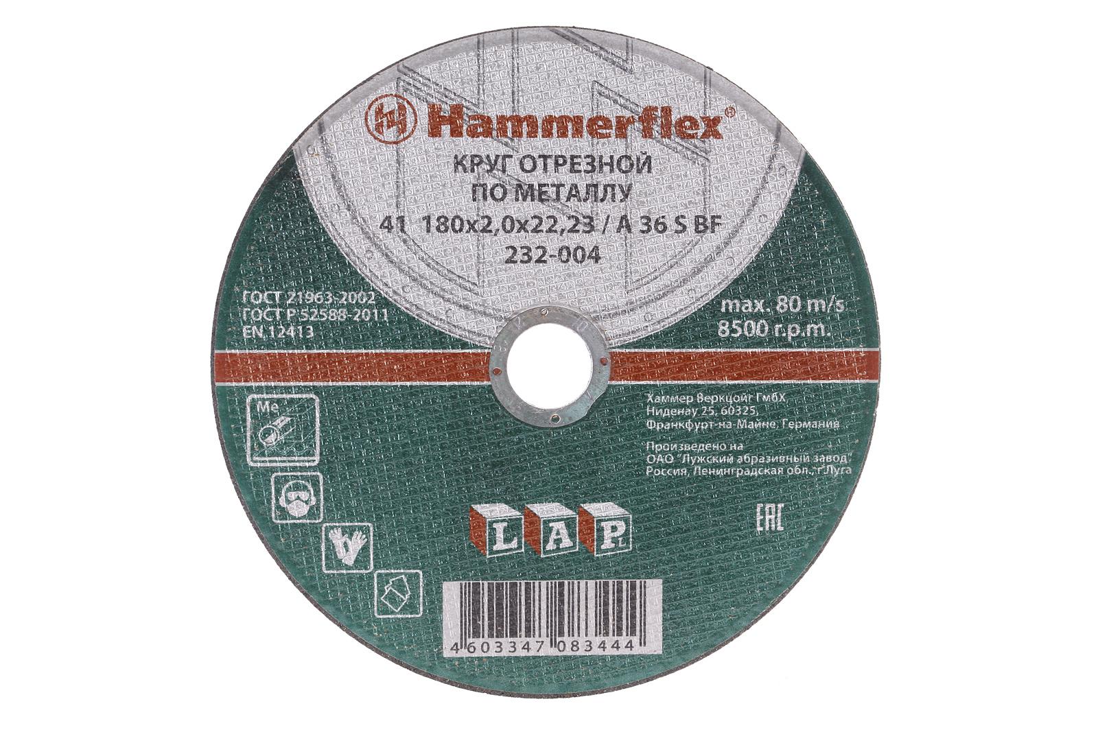 Круг отрезной Hammer 180 x 2.0 x 22 по металлу Коробка (150шт.) круг отрезной hammer 150 x 2 0 x 22 по металлу коробка 200шт