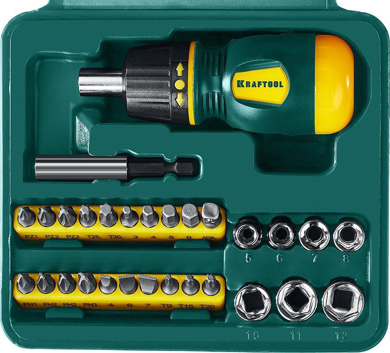 Отвертка Kraftool 25556-h29 набор kraftool отвертка реверсивная с битами и торцевыми головками 29 предметов 25556 h29