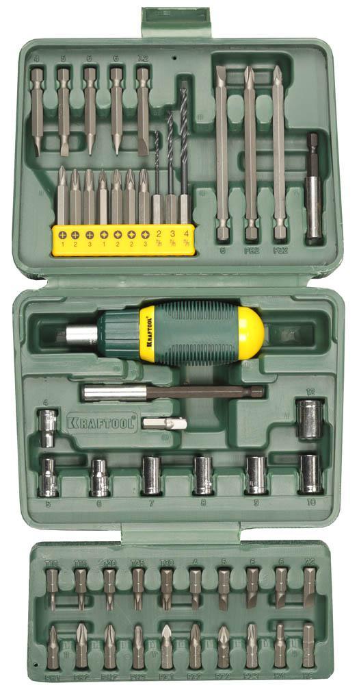 Отвертка Kraftool 25556-h50 отвертка реверсивная с битами и торцевыми головками kraftool 25556 h27