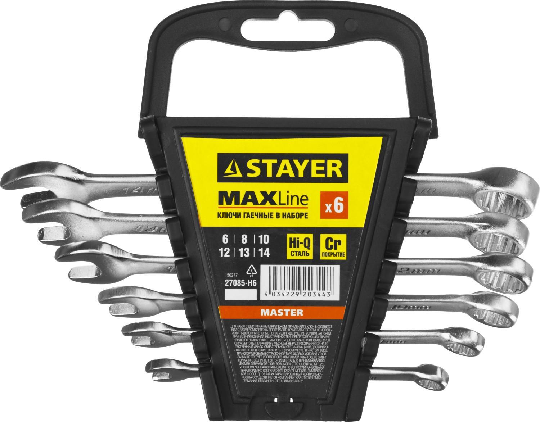 Набор ключей Stayer 27085-h6 (6 - 14 мм) набор ключей трубных stayer 2719 h6