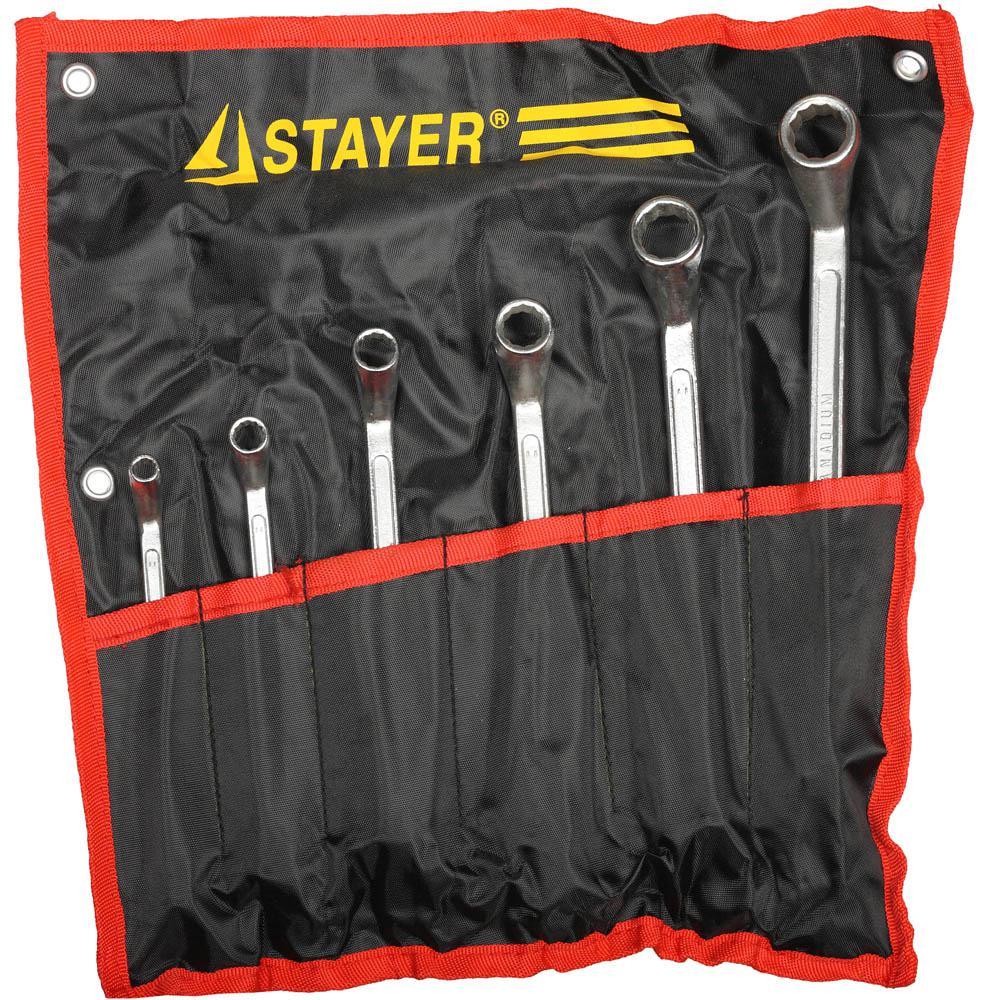Набор ключей Stayer 27151-h6 (6 - 22 мм) набор ключей накидных изогнутых stayer мастер 27151 h6