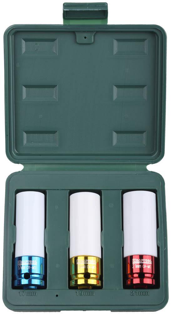 Набор головок Kraftool 27943-h3 набор губцевых инструментов kraft max 3 штуки kraftool 22011 h3