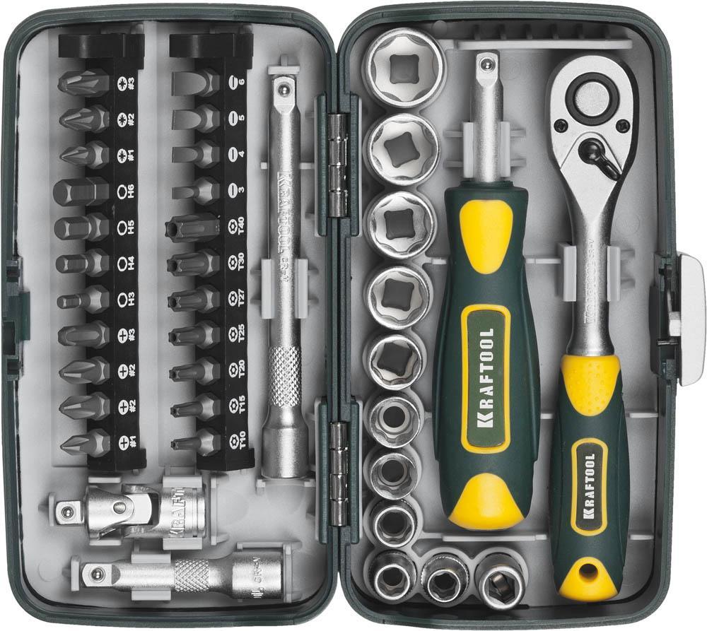 Набор инструментов Kraftool 27970-h38 компактный набор слесарно монтажного инструмента 1 4 38шт kraftool industrie 27970 h38