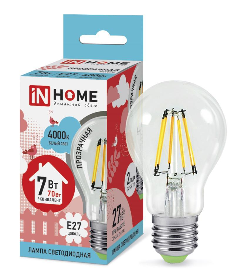 Лампа светодиодная Asd In home led-a60-deco 7Вт 230В Е27 4000К deco home стол трансформер