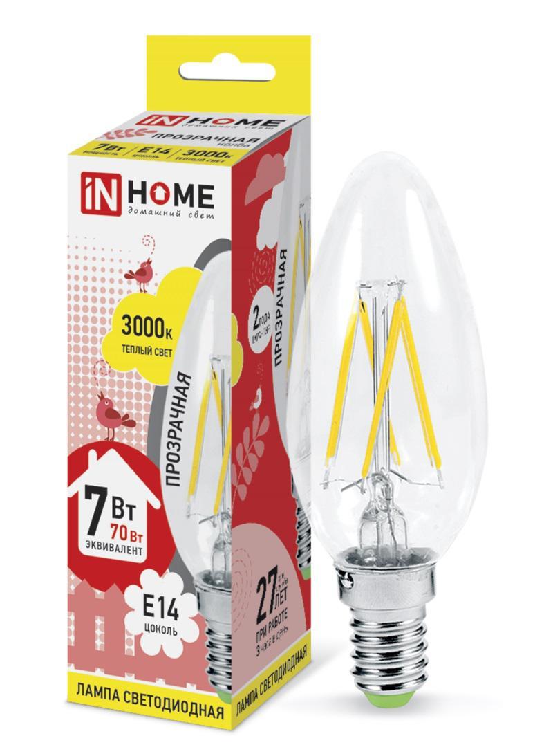 Лампа светодиодная Asd In home led-СВЕЧА-deco 7Вт 230В Е14 3000К