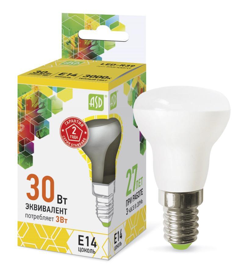 Лампа светодиодная Asd Led-r39-standard 3Вт 230В Е14 3000К