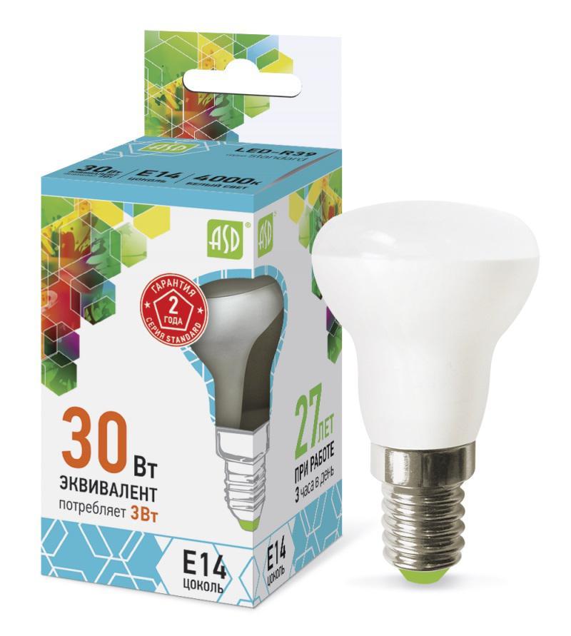 Лампа светодиодная Asd Led-r39-standard 3Вт 230В Е14 4000К