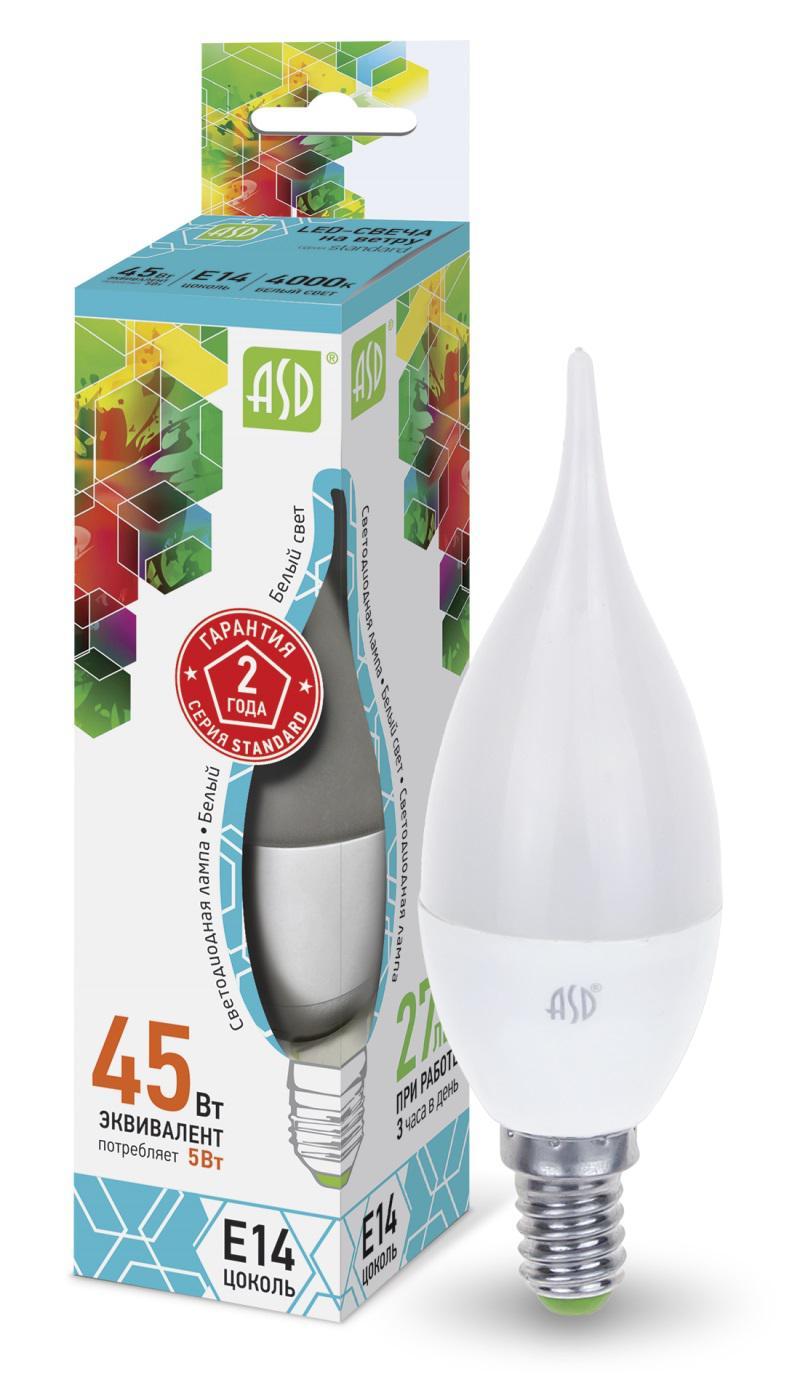 Лампа светодиодная Asd Led-СВЕЧА НА ВЕТРУ-standard 5Вт 230В Е14 4000К