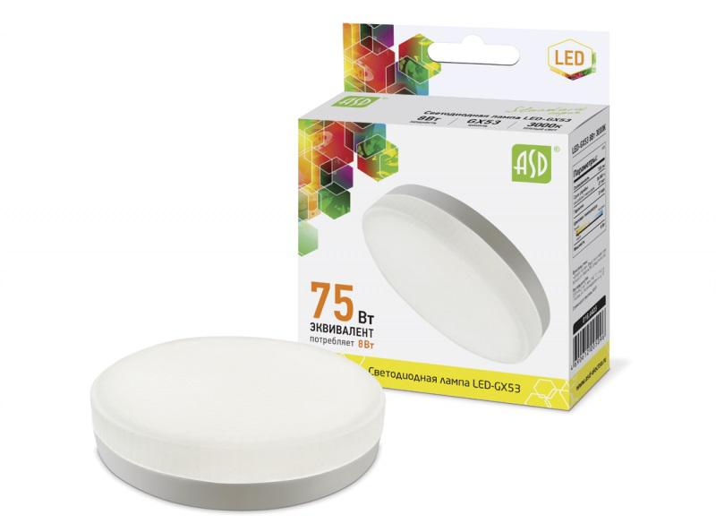 Лампа светодиодная Asd Led-gx53-standard 8Вт 230В 3000К