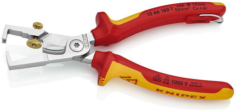 Щипцы для зачистки электропроводов Knipex Kn-1366180t  инструмент для снятия изоляции knipex kn 1381200
