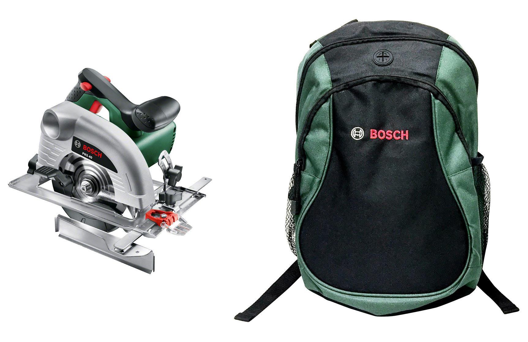 Набор Bosch Пила циркулярная pks 40 + рюкзак green (1619g45200) пила циркулярная bosch pks 55 a 0 603 501 020
