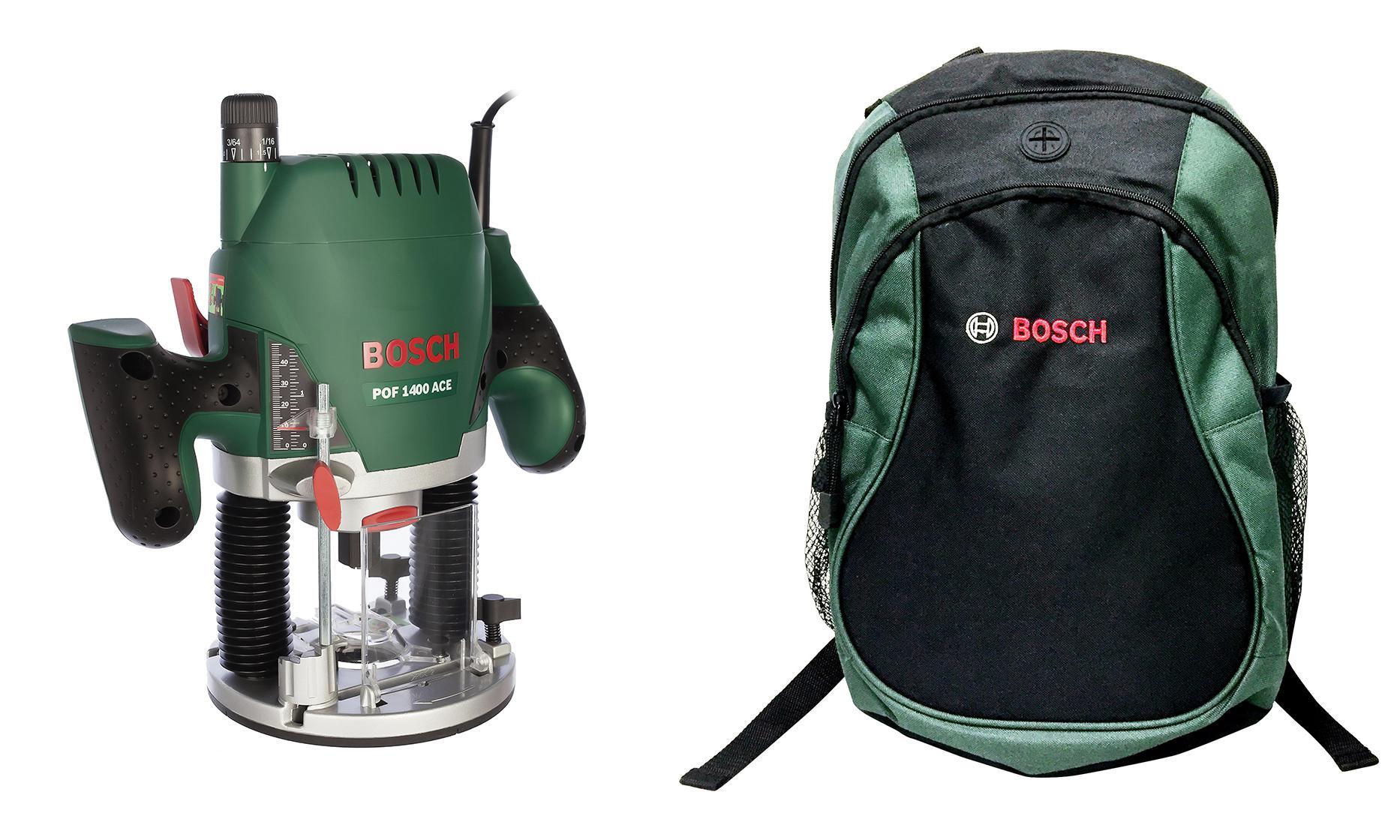 Набор Bosch Фрезер pof 1400 ace (0 603 26c 820) + рюкзак green (1619g45200)