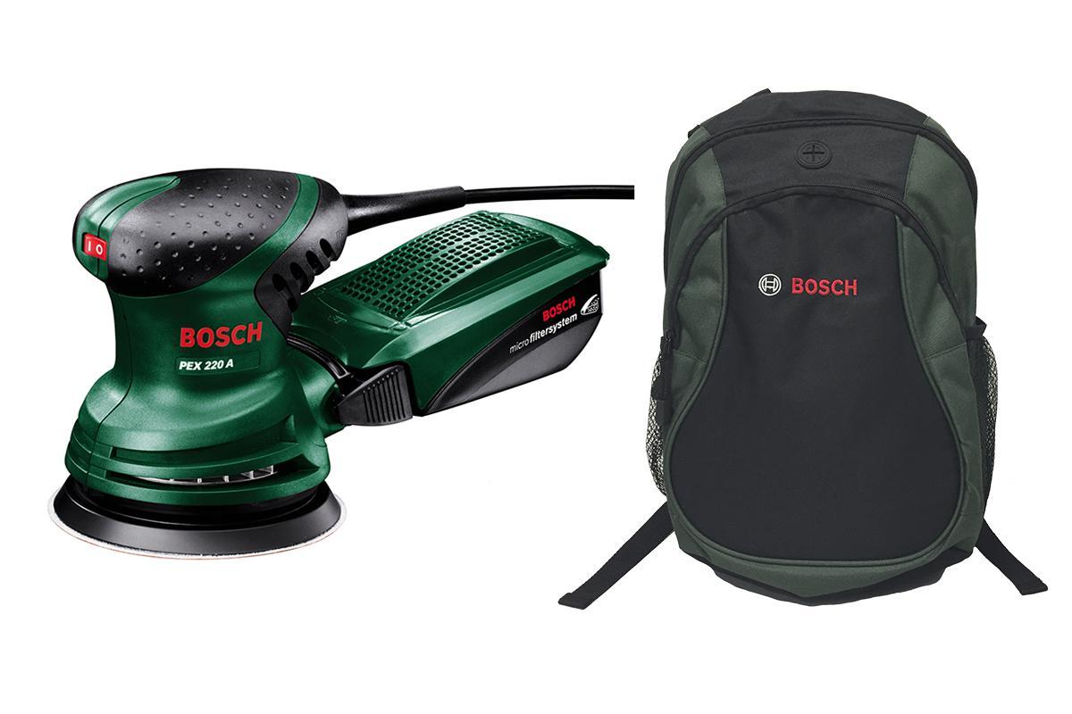 Набор Bosch Шлиф.машинка орбитальная pex 220a (0603378020) + рюкзак green (1619g45200)  шлифовальная машина bosch pex 220 a 0603378020