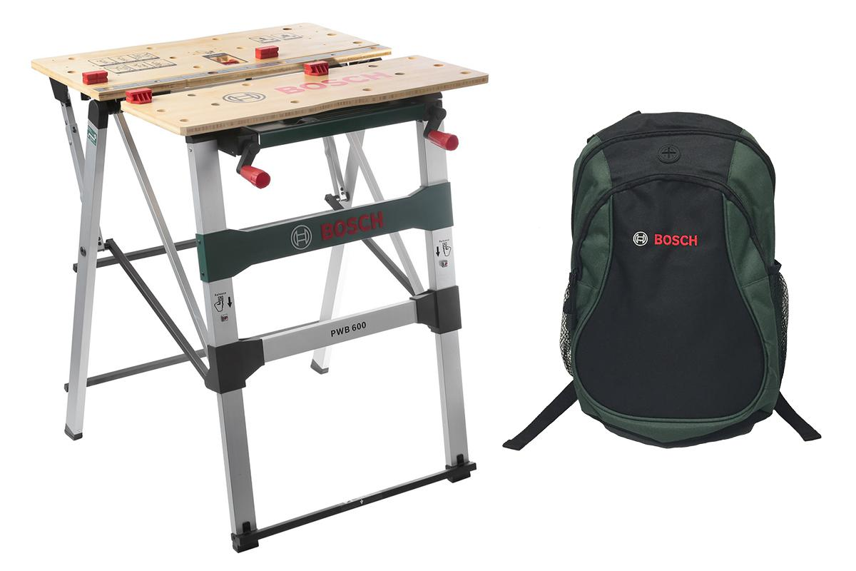 Набор Bosch Стол рабочий pwb 600 (0 603 b05 200) + рюкзак green (1619g45200) bosch pwb 600 0603b05200