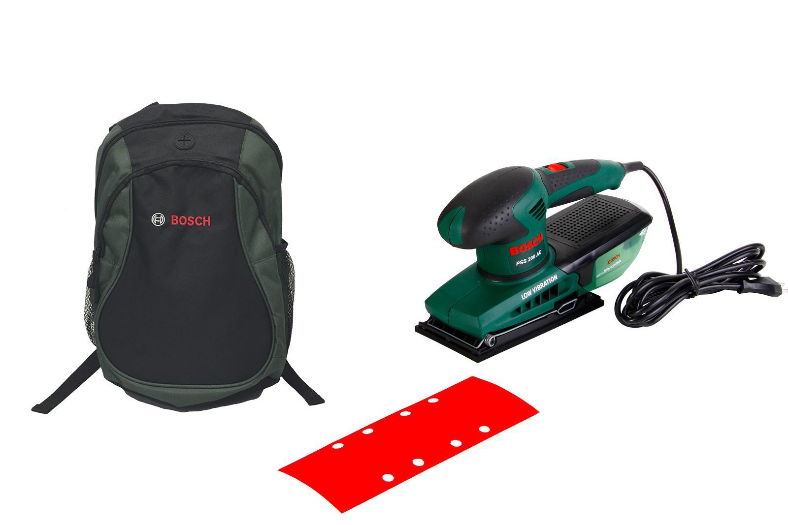 Набор Bosch шлиф.машинка плоская pss 200 ac (0603340120) + рюкзак green (1619g45200) вибрационная шлифмашина bosch pss 200 ac 0603340120