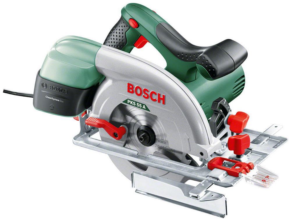 Пила циркулярная Bosch Pks 55 a (0.603.501.002) аккумуляторная дисковая пила bosch pks 18 li 2 5ah x1 06033b1302