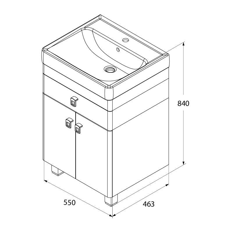 Тумба для ванной комнаты с раковиной Iddis Car55w2i95+0045500i28