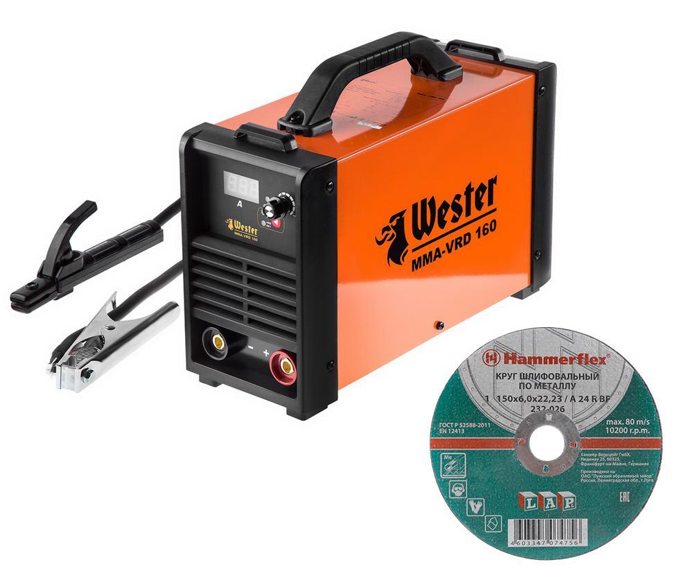 Набор Wester инвертор сварочный mma-vrd 160 + Круг шлифовальный hammer 150x6x22.23мм 20шт