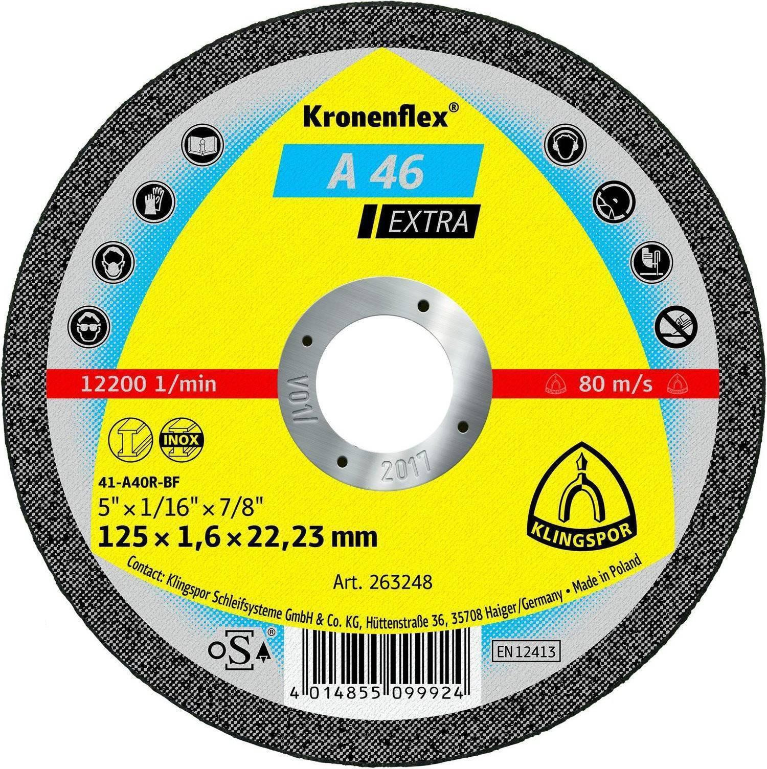 Круг отрезной Klingspor Kronenflex a 46 extra 125 x 1.6 x 22 круг отрезной hammer flex 115 x 1 0 x 22 по металлу и нержавеющей стали 25шт