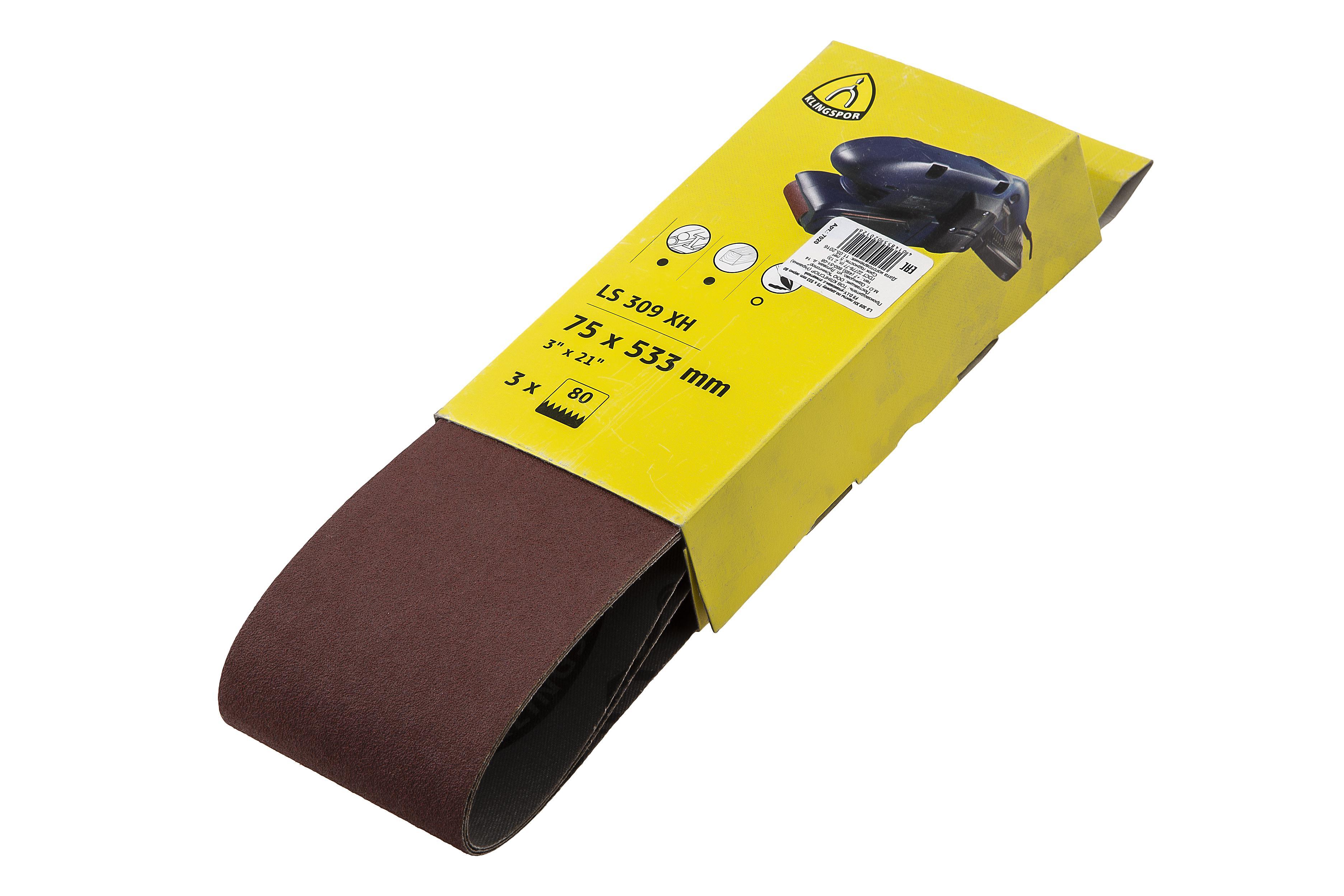 Лента шлифовальная бесконечная Klingspor Ls 309 xh 75 x 533 p80 3шт. лента шлифовальная бесконечная hammer flex 75 х 533 р 80 3шт