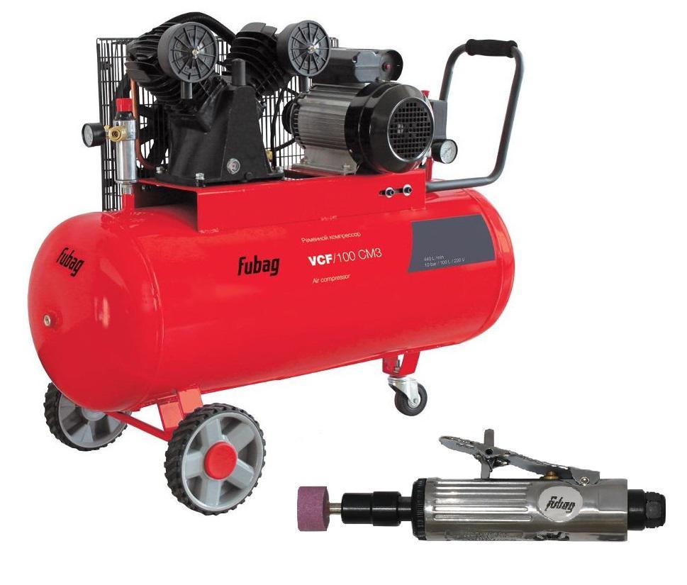 Компрессор Fubag Vcf/100 Сm3 + Шлиф. машина gl103 компрессор fubag b4000b 100 см3 45681496