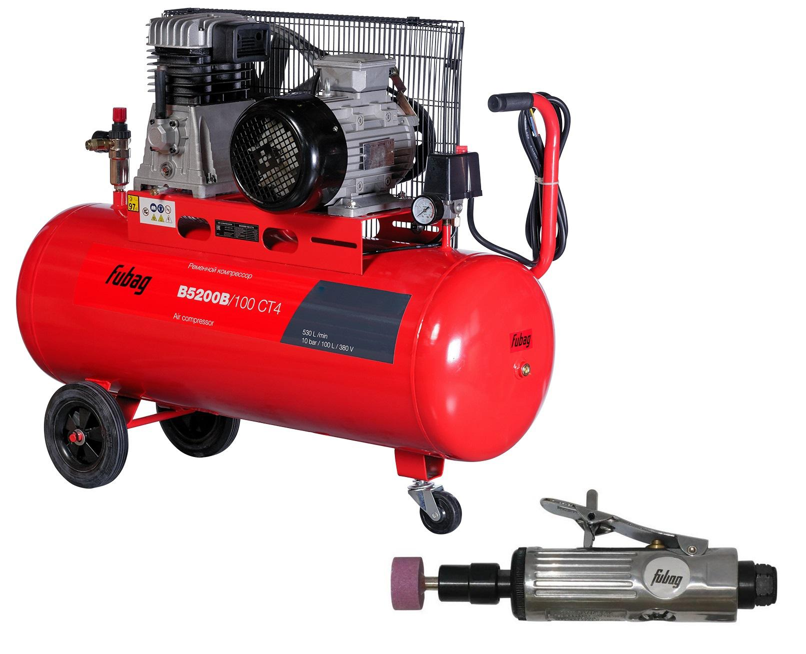 Компрессор Fubag B5200b/100 СТ4 + Шлиф. машина gl103 компрессор fubag b4000b 100 см3 45681496