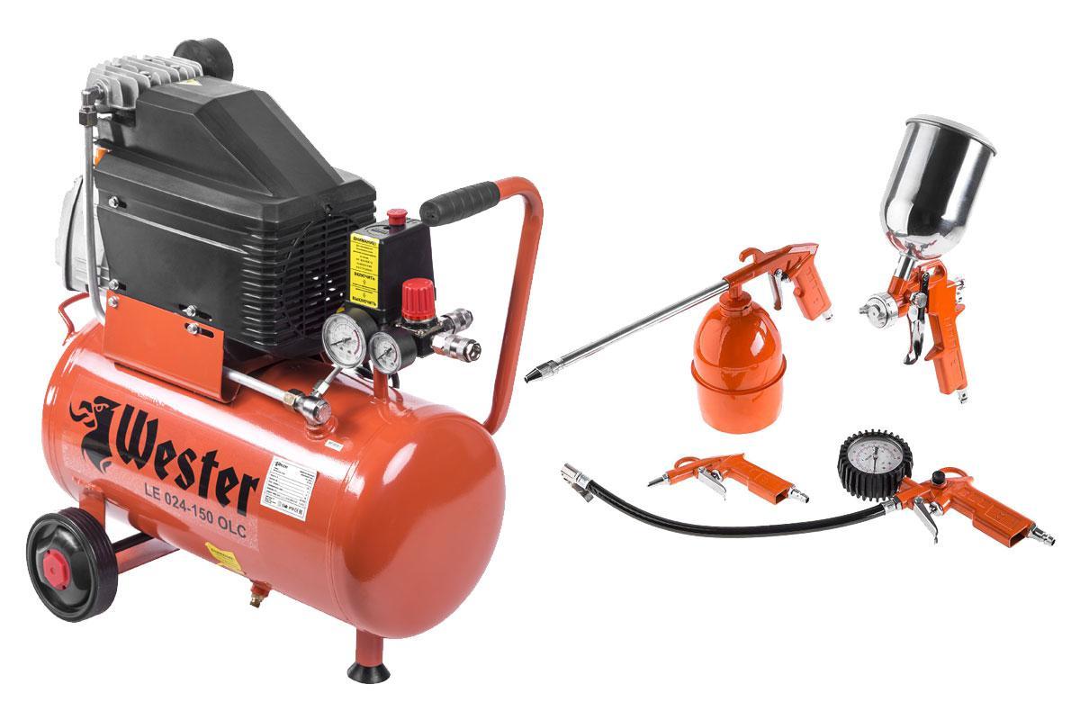 Набор Wester компрессор le 024-150 olc + 5 инструментов