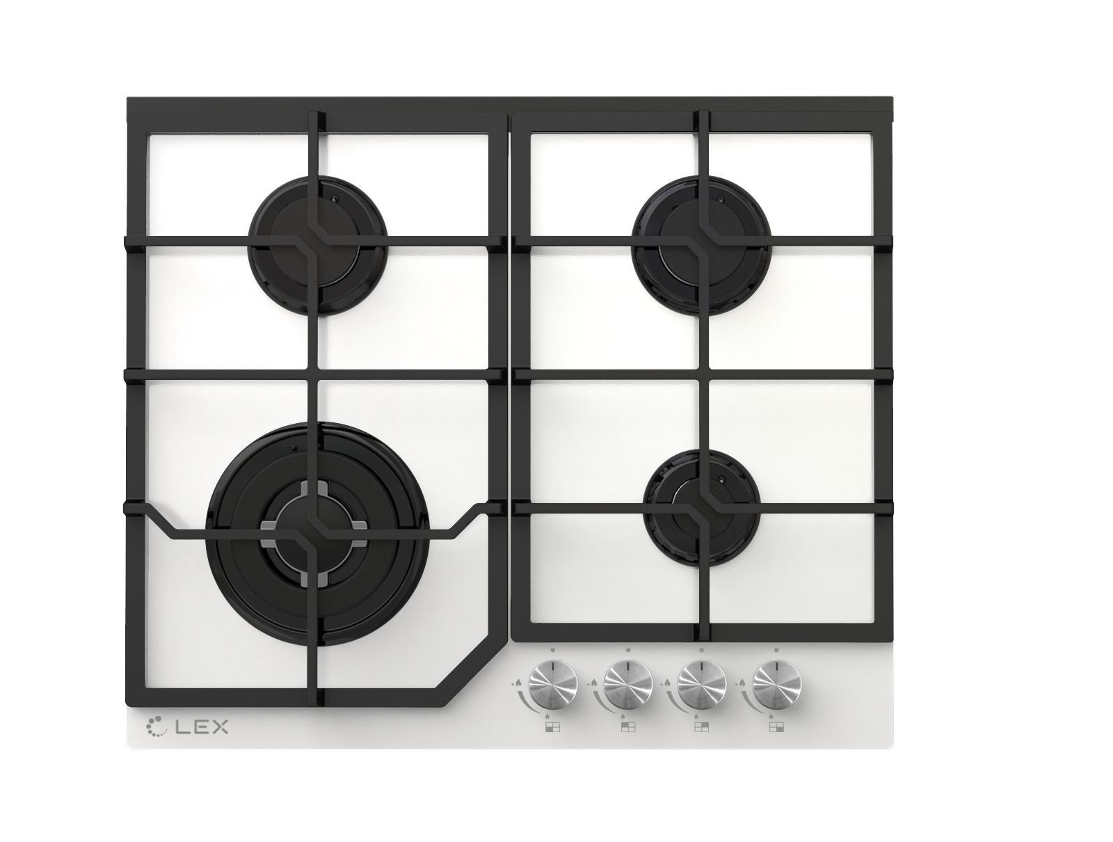 Встраиваемая газовая варочная панель Lex Gvg 640-1 white