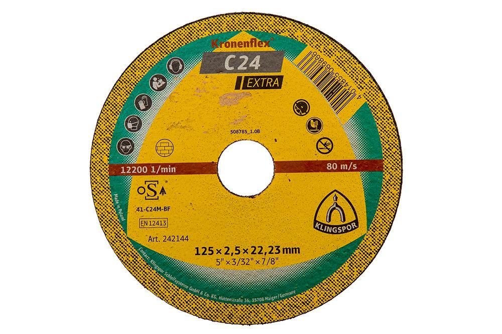 Купить Круг отрезной Klingspor 125х2.5х22 kronenflex С 24 extra, Польша