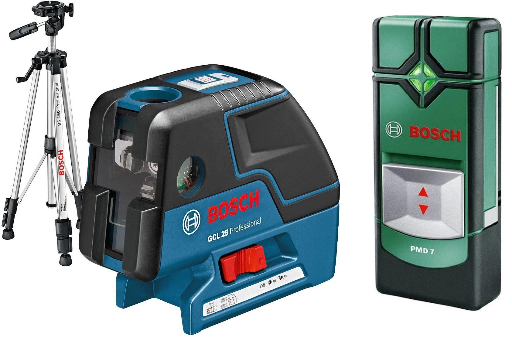 Уровень Bosch Gcl 25 professional + ШТАТИВ bs 150 (0.601.066.b01) + Детектор pmd7  детектор bosch pmd 7 0603681121