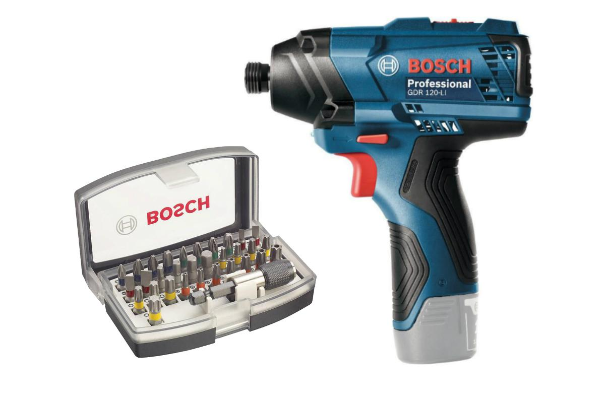 Набор Bosch Гайковерт gdr 120-li (0.601.9f0.000),Набор бит 2.607.017.319 гайковерт аккумуляторный bosch gdx 14 4 v li 0 601 9b8 004