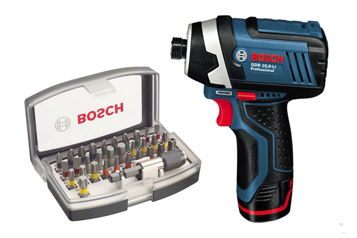 Набор Bosch Гайковерт аккумуляторный gdr 10,8-li l-boxx (0.601.9a6.977),Набор бит 2.607.017.319 шуруповерт аккумуляторный bosch gsr 10 8 li l boxx