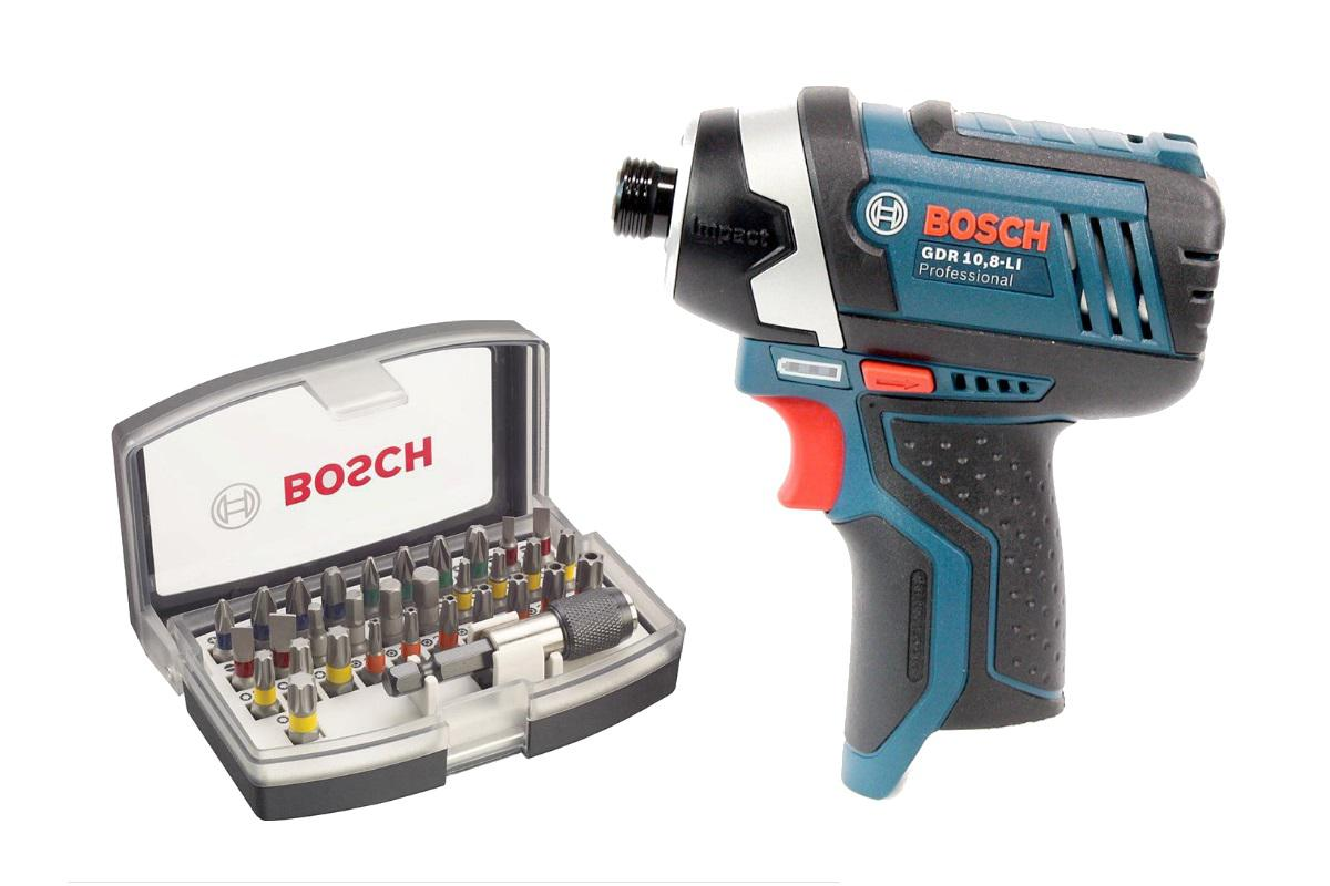 Набор Bosch Гайковерт аккумуляторный gdr 10,8-li БЕЗ АКК. (0.601.9a6.901),Набор бит 2.607.017.319 аккумуляторный перфоратор bosch gbh 180 li 4 0ач x2 0611911023