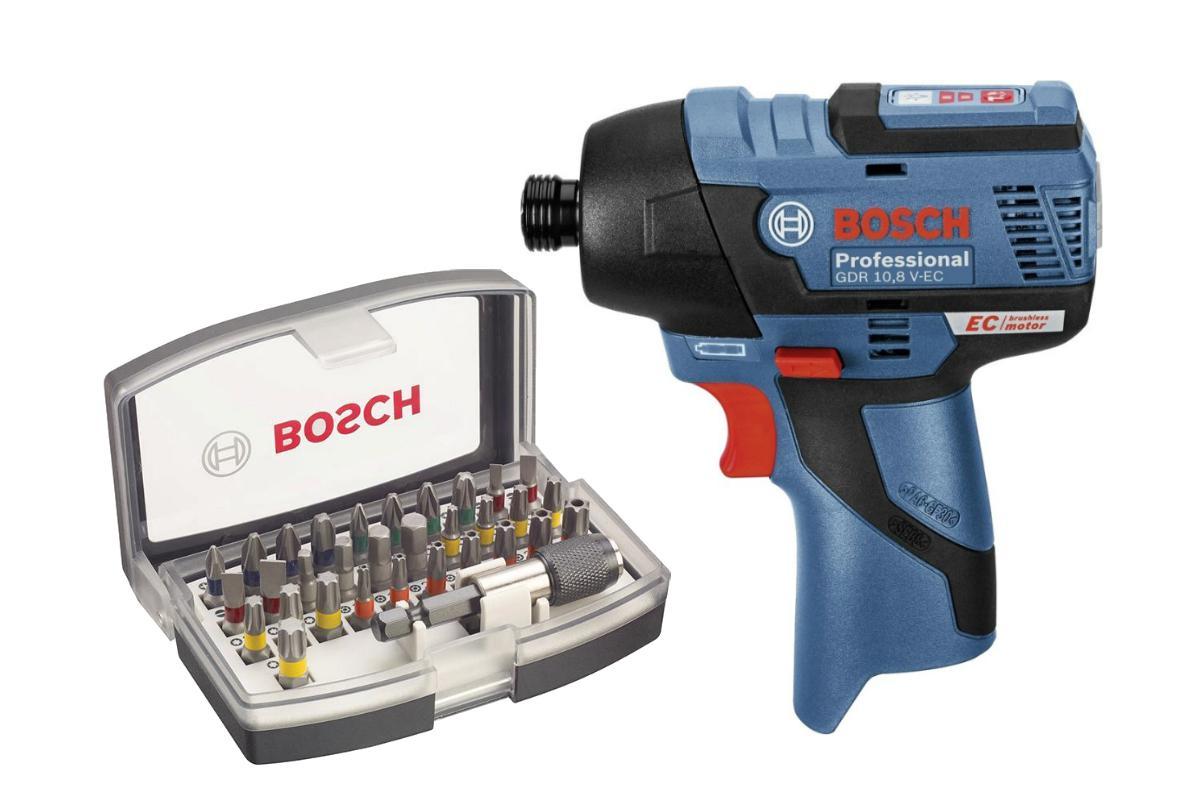 Набор Bosch Шуруповерт аккумуляторный gdr 10.8 v-ec (0.601.9e0.002),Набор бит 2.607.017.319 набор bosch шуруповерт аккумуляторный gsr 18 v ec fc2 0 601 9e1 102 адаптер gaa 18v 24