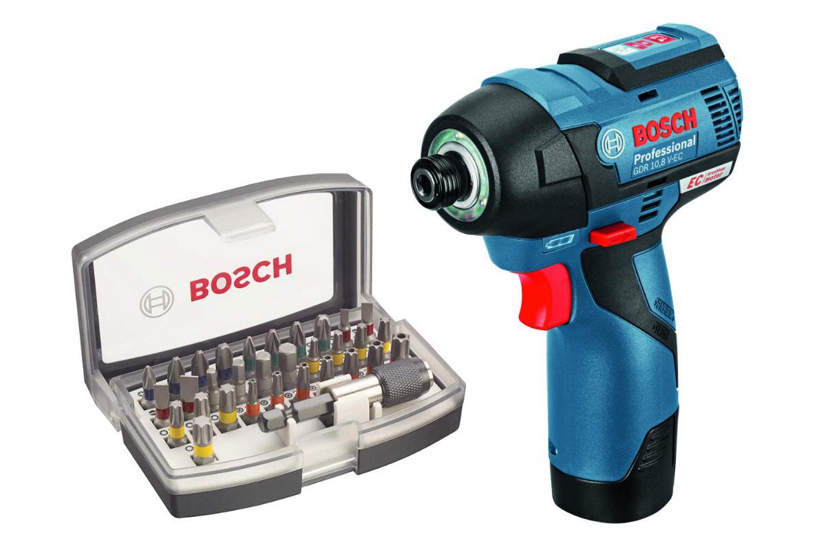 Набор Bosch Гайковерт аккумуляторный gdr 10.8 v-ec (0.601.9e0.000),Набор бит 2.607.017.319 гайковерт аккумуляторный bosch gdx 14 4 v li 0 601 9b8 004