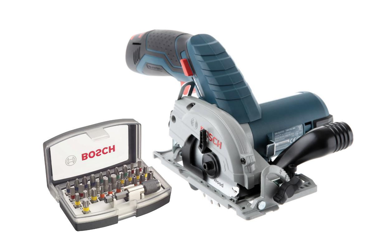 Набор Bosch Пила циркулярная gks 10,8 v-li (0.601.6a1.000),Набор бит 2.607.017.319 пила bosch gks 10 8 v li gks 12v 26 l boxx 06016a1000