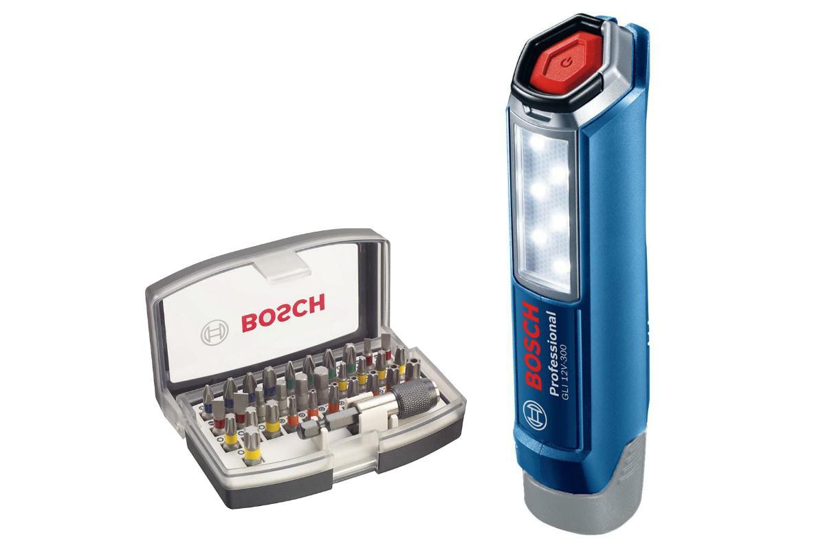 Набор Bosch Фонарь gli 12v-300 (0.601.4a1.000),Набор бит 2.607.017.319 набор bosch фонарь gli 18v 300 0 601 4a1 100 адаптер gaa 18v 24