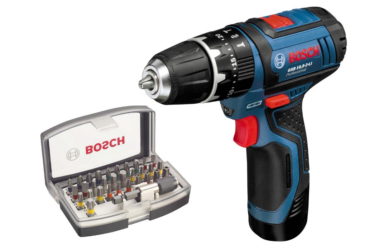 Набор Bosch Дрель аккумуляторная gsb 10,8-2-li l-boxx (0.601.9b6.906),Набор бит 2.607.017.319 дрель аккумуляторная bosch gsb 18 v ec 0 601 9e9 104