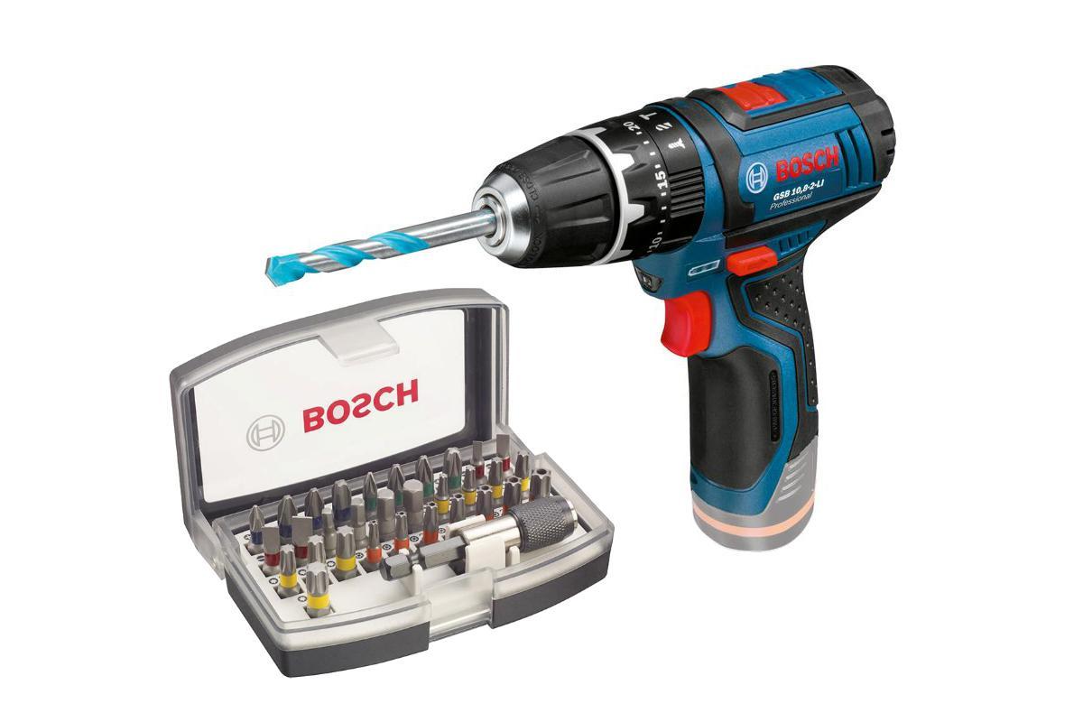 Набор Bosch Дрель аккумуляторная gsb 10,8-2-li (0.601.9b6.901),Набор бит 2.607.017.319 базовый комплект bosch gba 10 8v 2 5ah ow b gal 1830 w 1600a00j0f