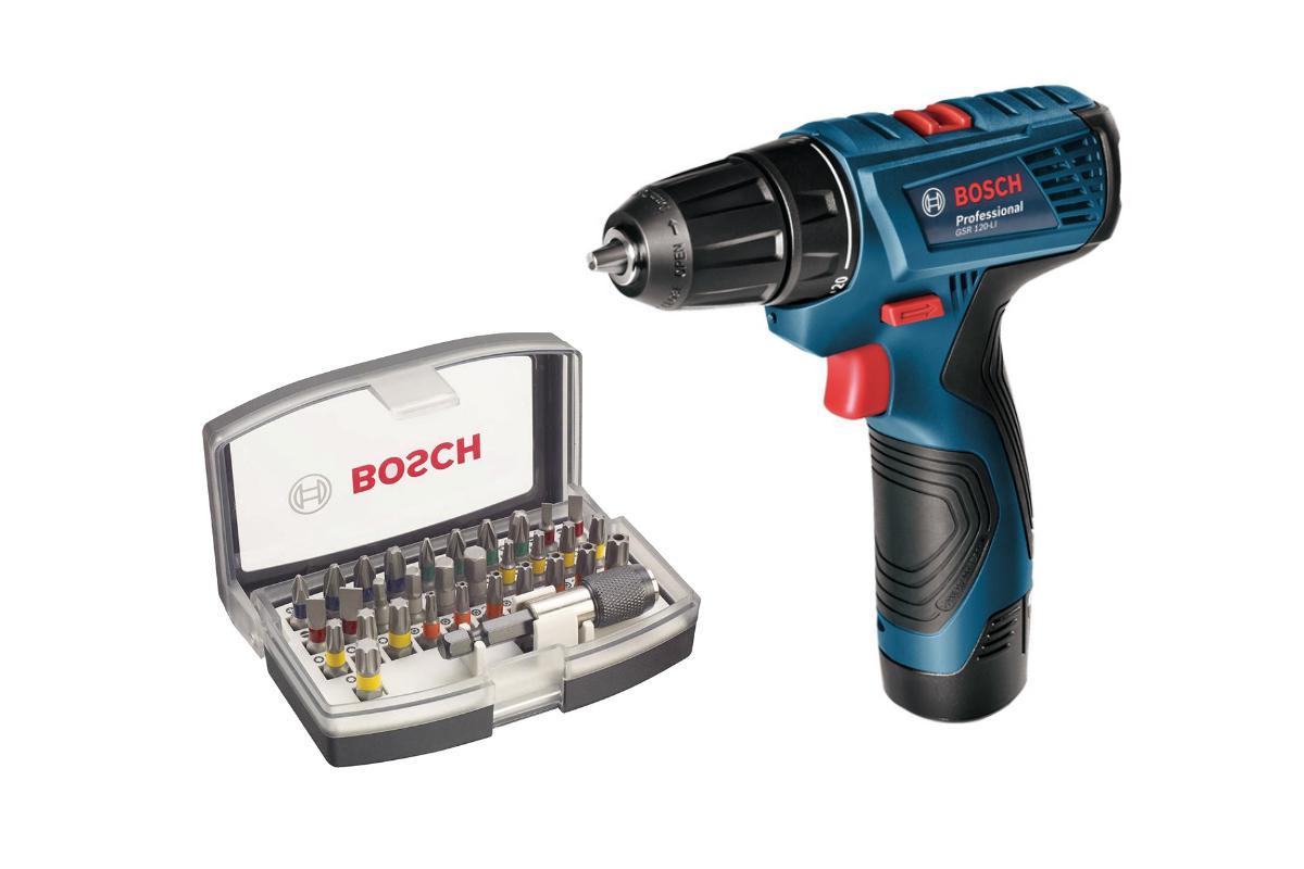 Набор Bosch Дрель аккумуляторная gsr 120-li (0.601.9f7.001),Набор бит 2.607.017.319 дрель аккумуляторная bosch gsr 12v 15 fc 0 601 9f6 001