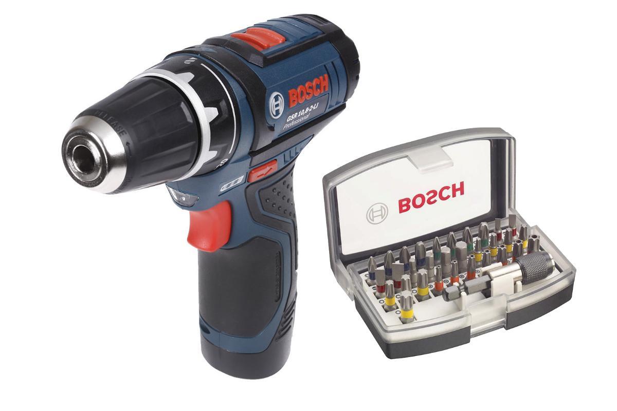 Набор Bosch Дрель аккумуляторная gsr 10,8-2-li l-boxx2.0 Ач (0.601.868.109),Набор бит 2.607.017.319  дрель шуруповерт bosch gsr 10 8 2 li 0 601 868 109