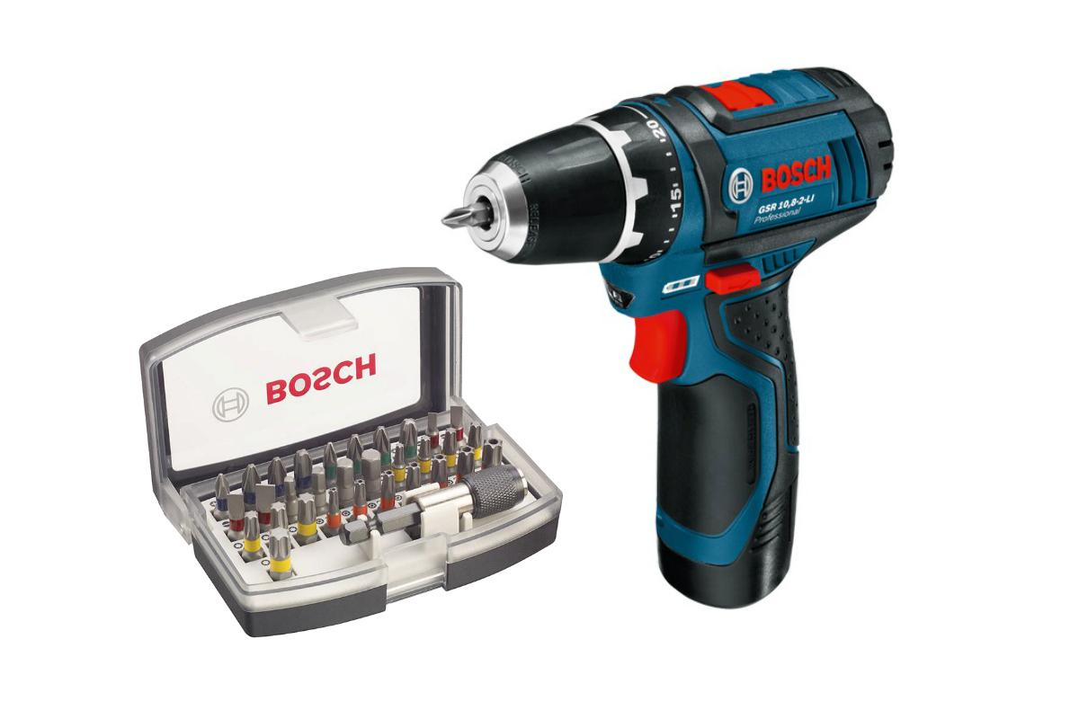 Набор Bosch Дрель аккумуляторная gsr 10.8-2-li (0.601.868.122),Набор бит 2.607.017.319 дрель аккумуляторная bosch gsr 10 8 2 li l boxx2 0 ач 0 601 868 109