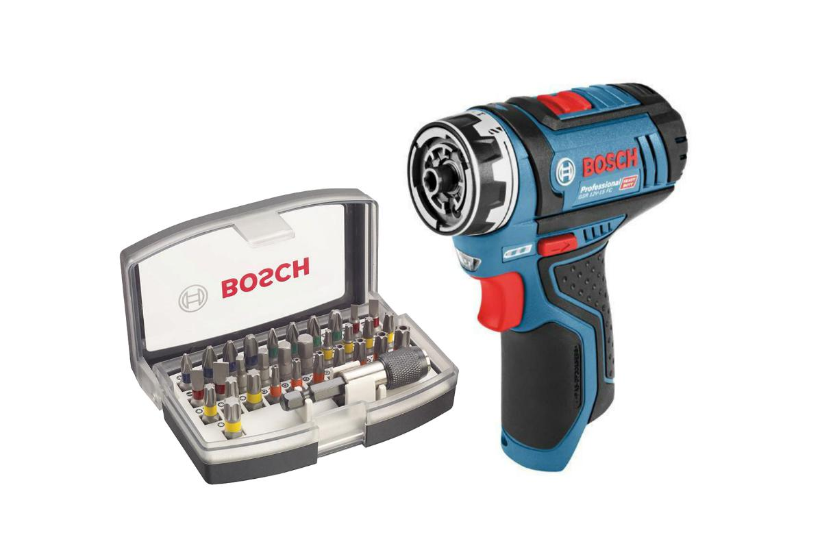 Набор Bosch Дрель аккумуляторная gsr 12v-15 fc без ЗУ и АКБ (0.601.9f6.004),Набор бит 2.607.017.319 набор bosch дрель аккумуляторная gsb 18 v ec 0 601 9e9 100 адаптер gaa 18v 24