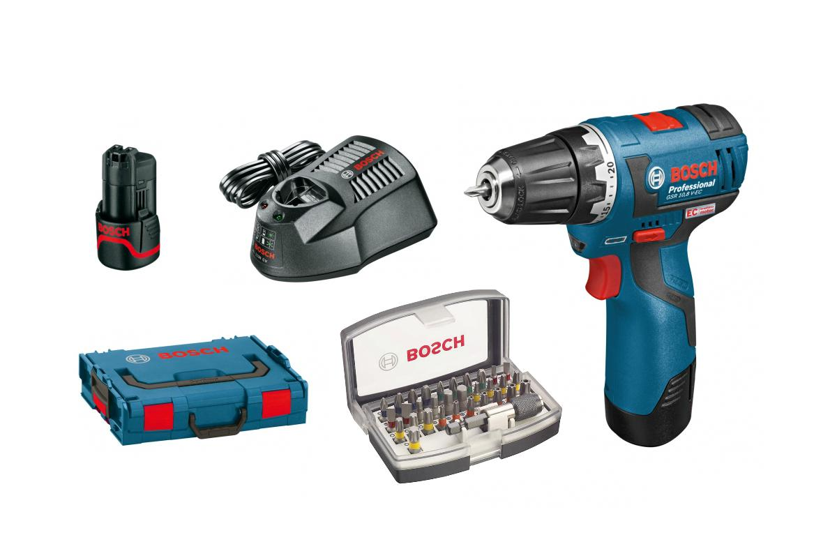 Набор Bosch Дрель аккумуляторная gsr 10,8 v-ec l-boxx (0.601.9d4.000),Набор бит 2.607.017.319 аккумуляторная дрель шуруповёрт bosch gsr 36 ve 2 li 4 0ah x2 l boxx