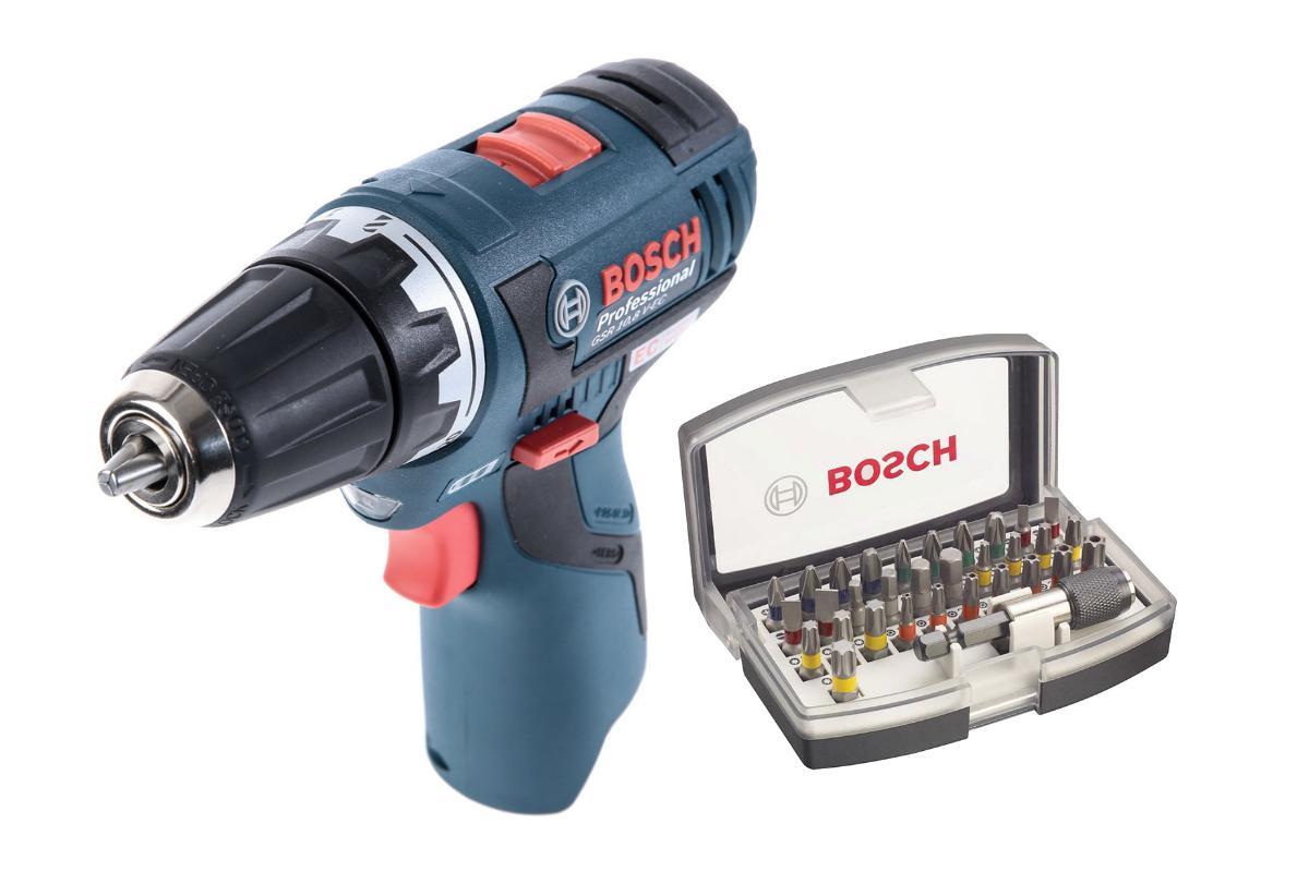 Набор Bosch Дрель аккумуляторная gsr 10,8 v-ec БЕЗ АКК. и З/У (0.601.9d4.002),Набор бит 2.607.017.319 дрель шуруповерт bosch gsr 18 v eс gfa fc2 06019e1102
