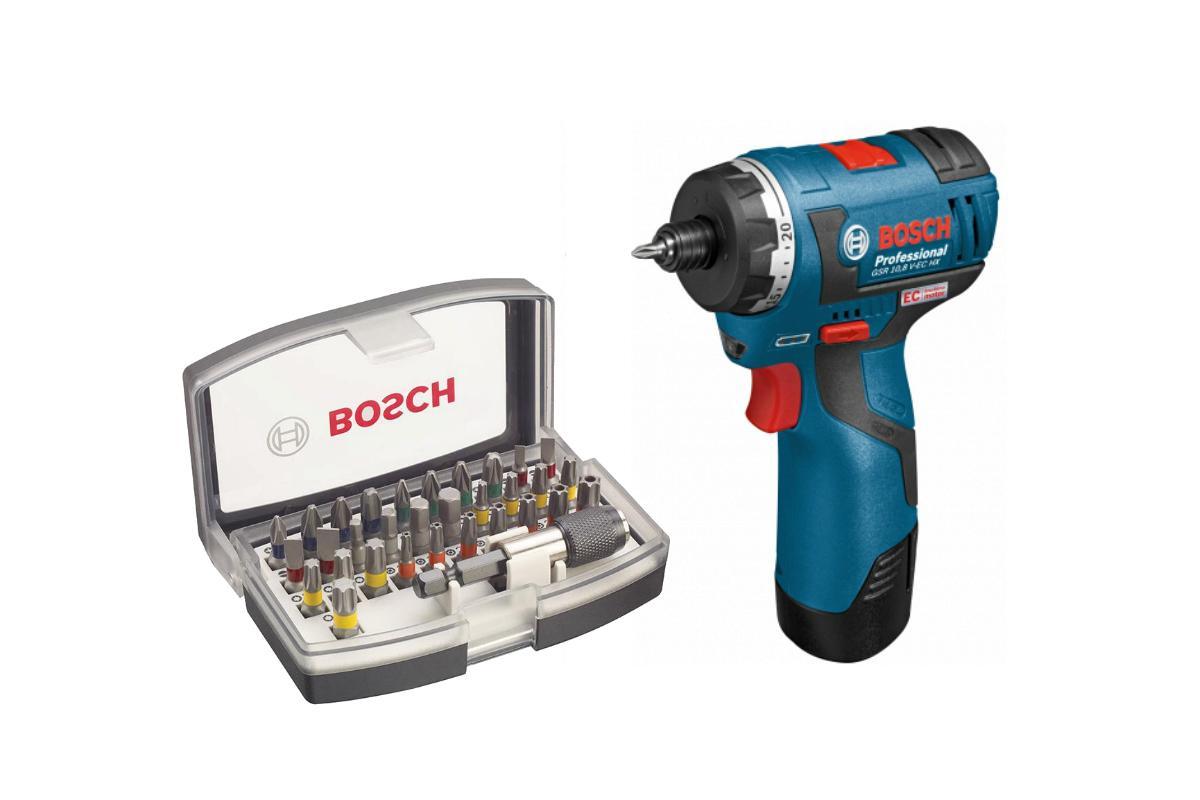 Набор Bosch Шуруповерт аккумуляторный gsr 10.8 v-ec hx (0.601.9d4.100),Набор бит 2.607.017.319 шуруповерт аккумуляторный bosch gsr 10 8 li l boxx