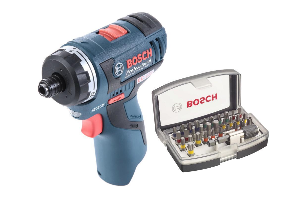 Набор Bosch Шуруповерт аккумуляторный gsr 10.8 v-ec hx (0.601.9d4.102),Набор бит 2.607.017.319 шуруповерт аккумуляторный bosch gsr 10 8 li l boxx