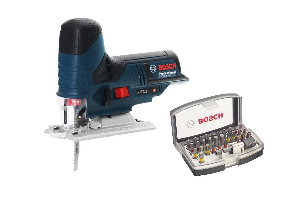 Набор Bosch Лобзик gst 10,8 v-li БЕЗ АКК. и З/У (0.601.5a1.001),Набор бит 2.607.017.319